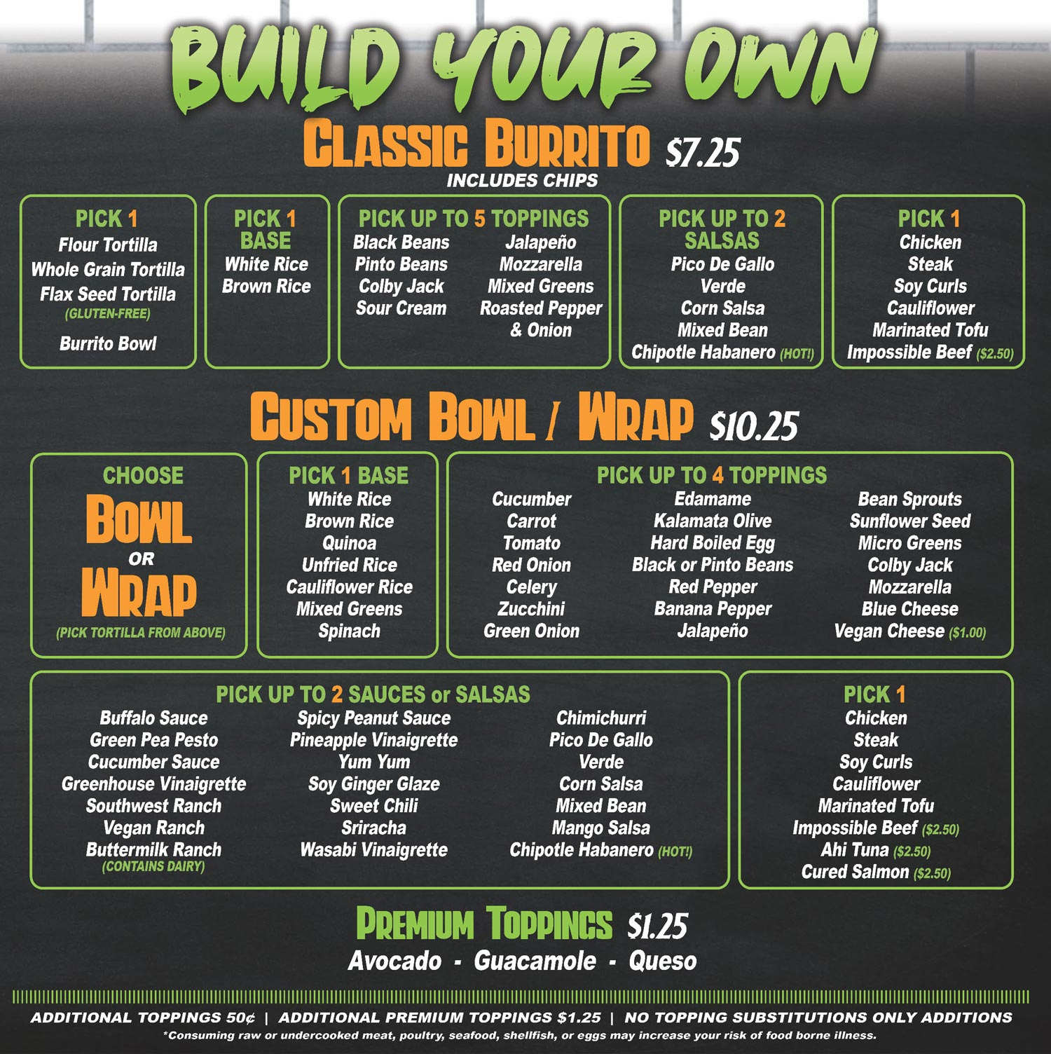 greenhouse kitchen build your own menu