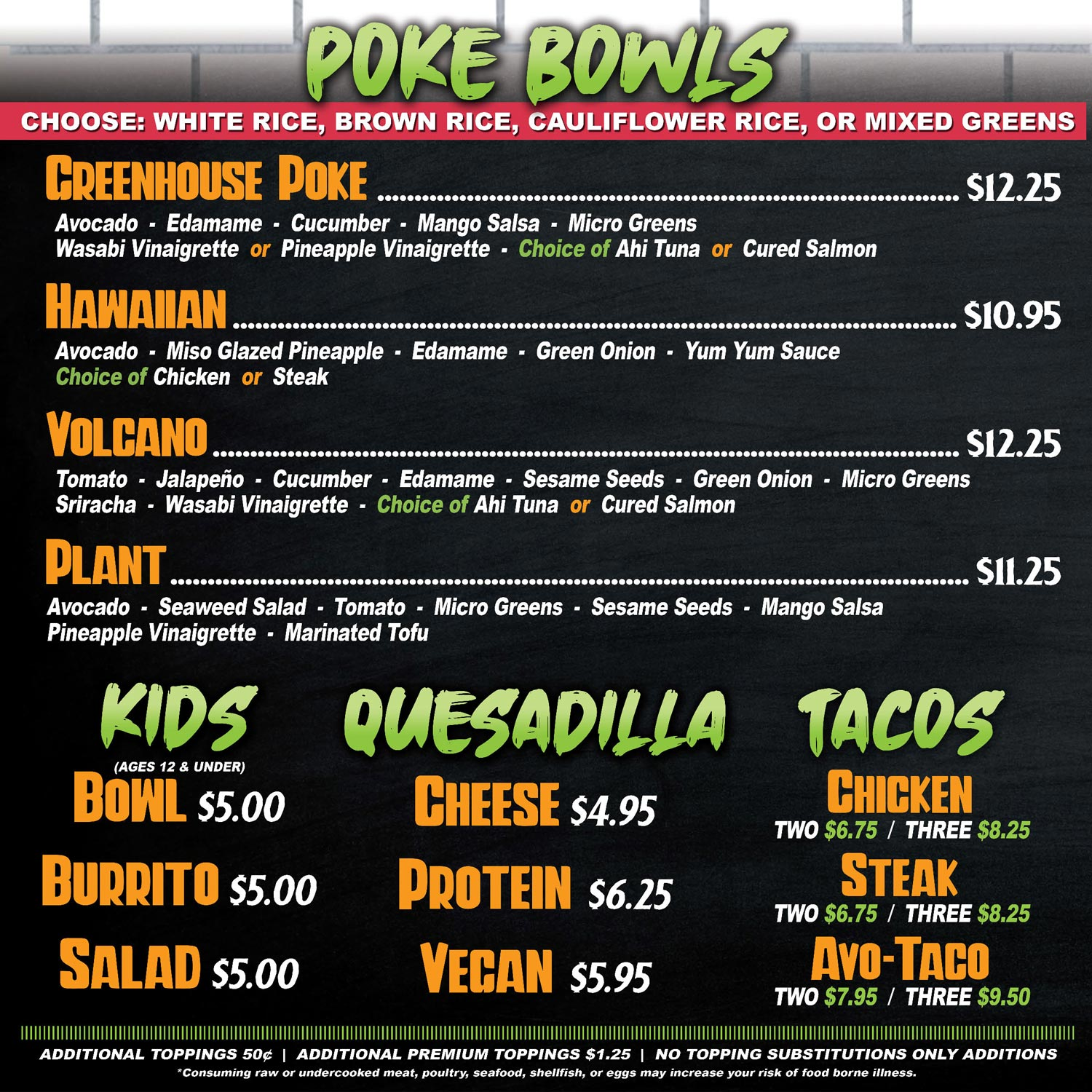 greenhouse kitchen poke bowls and kids menu